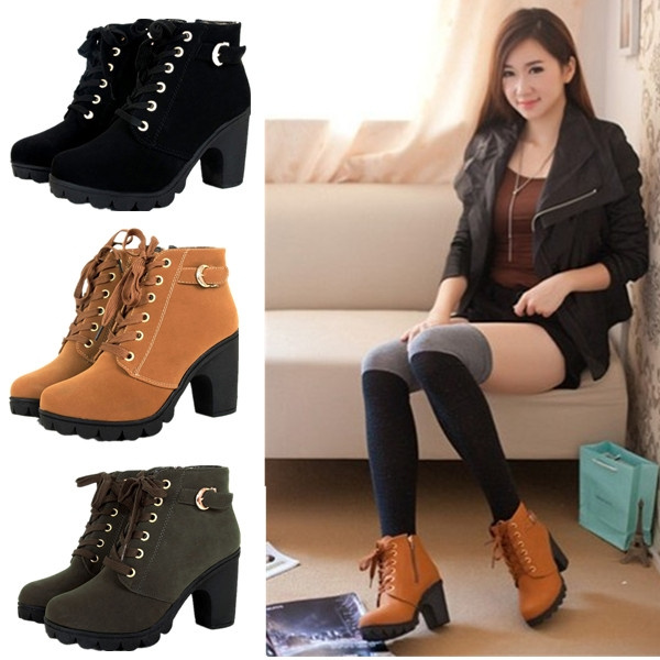 Wish | Hot Girl Women High Top Heel Lace Up Buckle Ankle Boots