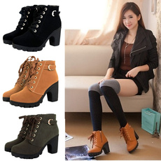 ankle boots, ladiesblockheelboot, High Heel Shoe, Leather Boots