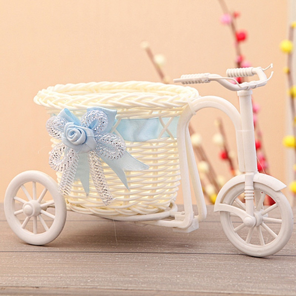 Picture of White Tricycle Bike Design Flower Basket Storage Container Party Wedding Shoot Photography Props