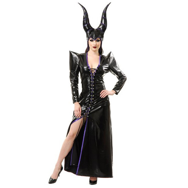 Maleficent Costume Adult Women Black Evil Witch Dress Halloween Costumes For Women Pu Faux Leather Sexy Maleficent Dress Party