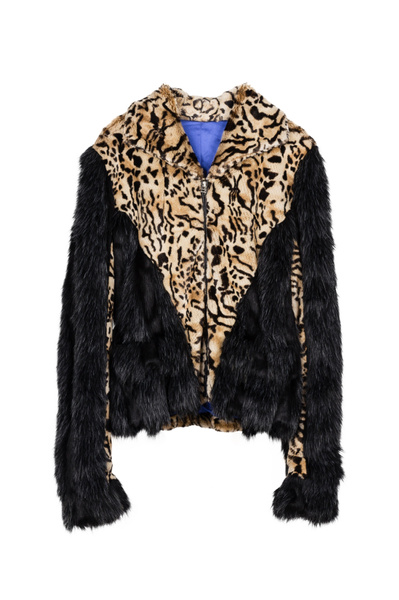 Wish | ENJOY FUR New Women Black Faux Fur Coat with Leopard print