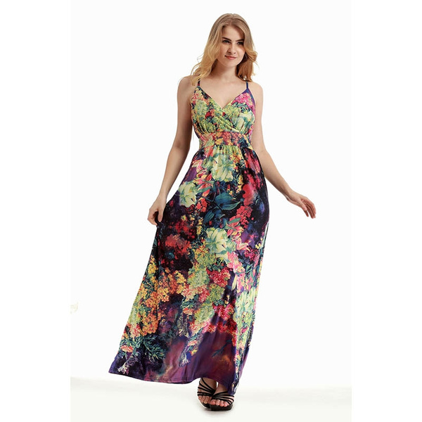 1d0d86e03 Female Summer Roupad de Meninas Saia Longa Femininas Vestidos Largos Praia  Floral Print Sundresses Faldas Ropa Mujer
