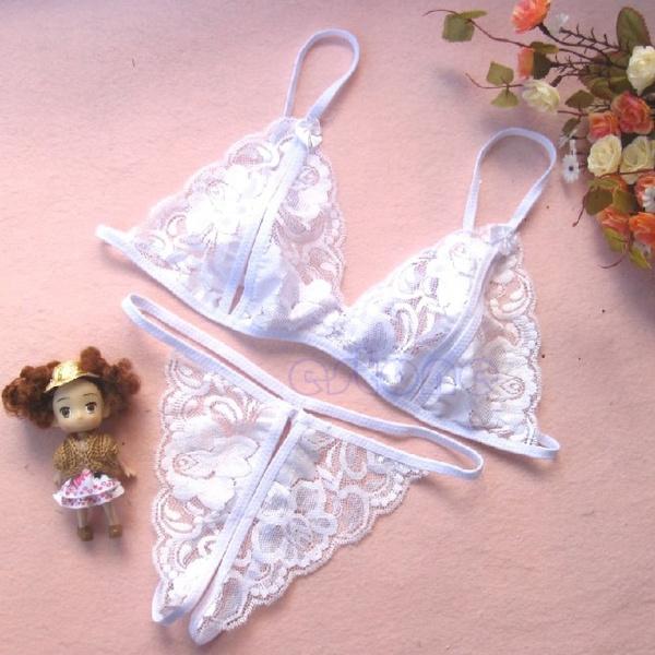 Sexy Lingerie Blossom Lace Women's Bikini Bra T-back G-string Underwear 1 Set