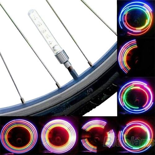 Picture of 2pcs Bike Bicycle Wheel Tire Valve Cap Spoke Neon 5 Led Lights Lamp No Battery