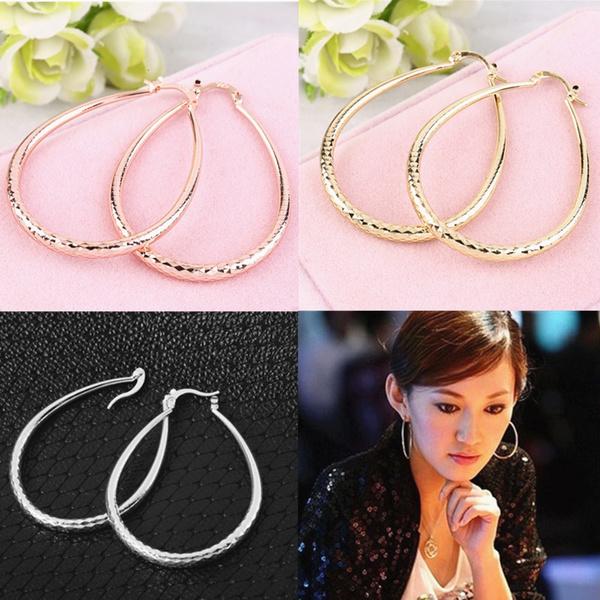 Picture of Sterling Solid Silver Fashion Twinkle U Hoop Earrings