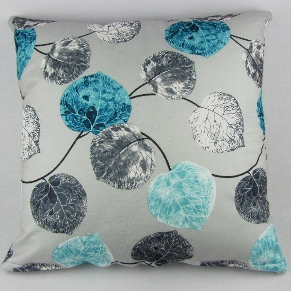 Picture of Leaveland Grey Blue Leaves Home Decoration Throw Pillow Case Cushion Cover Square 20x20 Cotton Blend Polyester