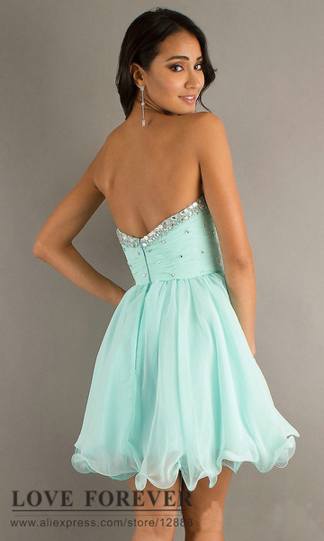 Wish | Light Blue Chiffon Organza Cheap Price Short Prom Dress ...