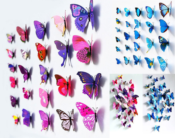 Sticker Art Design Decal Wall Stickers Home Decor Room Decorations 3D Butterfly