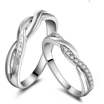 db924e4ae0364 925 Sterling silver Platinum Infinity Rings,Wedding Couples Rings,Lovers  Rings,His And Her Promise Ring Sets,Wedding Rings,Matching Ring