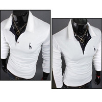 mama | New Men's Stylish Slim Long Sleeve Casual POLO Shirt T-shirts Fashion M-XXL