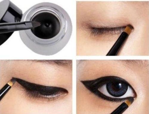 Picture of Hot Waterproof Eye Liner Eyeliner Gel Makeup Cosmetic + Brush Black One Set Color Black