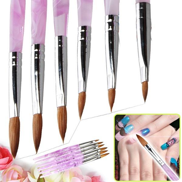 Picture of Nail Art 6 Pcs Acrylic Brushsize Drawing Pen Uv Gel Design 2 4 6 8 10 12