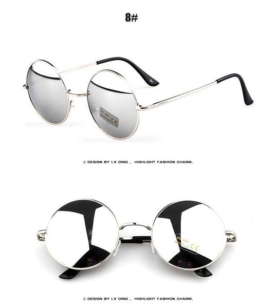 Picture of Women Men Unisex Round Vintage Retro Style Popularl Metal Frames Sunglasses Hot Color White