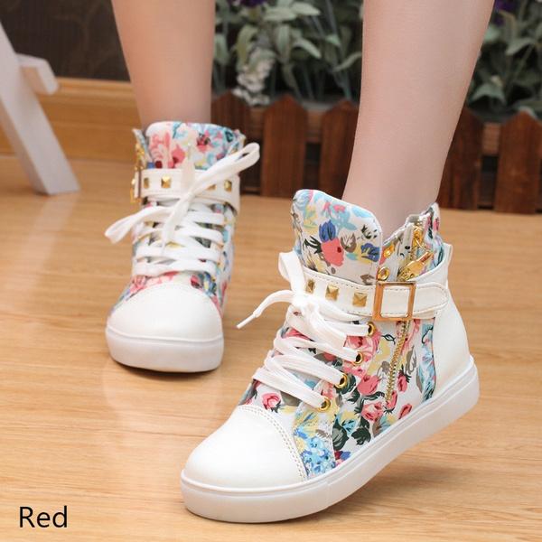 Picture of Women Casual Shoes Ankle School Boots Zipper Sports Flat Buckle Rivet Sneaker Canvas Shoes 5-7