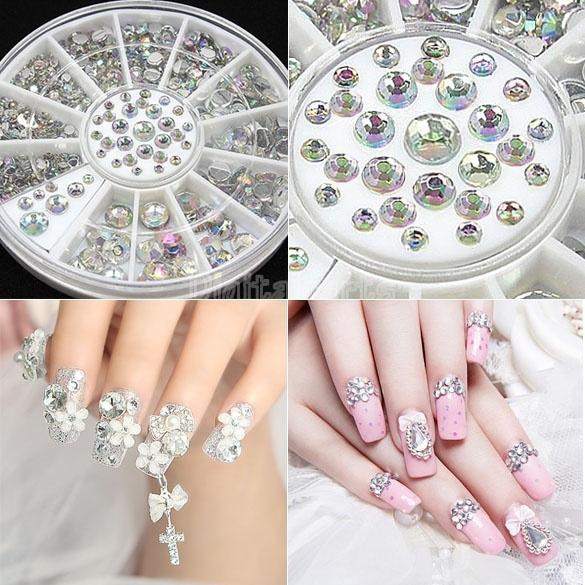 Wish | 300PCS Nail Art Decorations Rhinestones Crystal in 4 ...