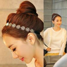 Fashion New Lovely Metallic Lady Hollow Rose Flower Elastic Hair Band Headband