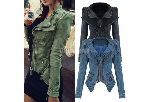 Cool Studded Shoulder Notched Lapel Denim Jacket Jeans Tuxedo New Winter/autumn Coat Blazer
