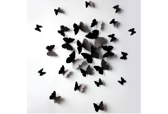 ( 12 pcs / pack ) 3D wall stickers butterfly fridge magnet wedding decoration home decor in black