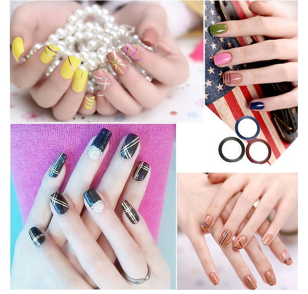 Picture of Fashion 30pcs Mixed Colors Rolls Striping Tape Line Diy Nail Art Tips Decoration Sticker Nail Care