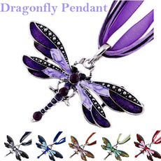 dragon fly, Christmas, Chain, multicolorpendantnecklace