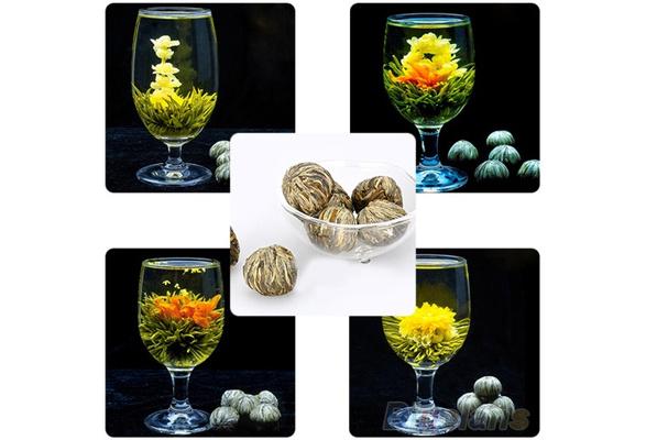 4 Balls Different Handmade Blooming Flower Green Tea Home Wedding Gift