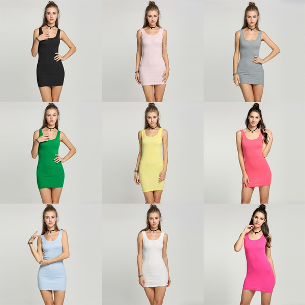 Picture of Women Sleeveless T-shirt Long Tank Tops Waistcoat Skinny Vest Dress