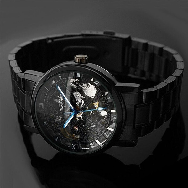 watch voeons s black men watches male pin strap glass leather casual steepletop