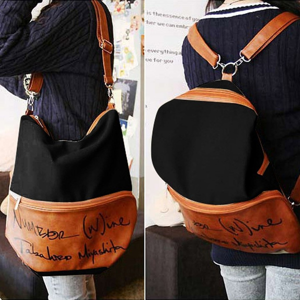 Picture of Women's 2 In 1 Fashion Shoulder Bag And Backpack Girl's Canvas Travel Bag