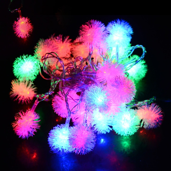 Picture of 5m 28l Fuzzy Ball String Fairy Light Christmas Xmas Party Wedding Decoration V Us Plug Size Us Plug