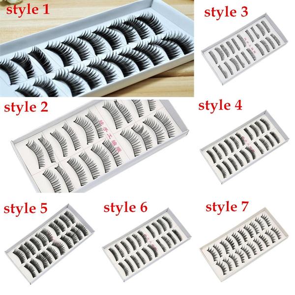 Picture of 10 Pair Thick Long False Eyelashes Eyelash Eye Lashes Voluminous Makeup Color Black