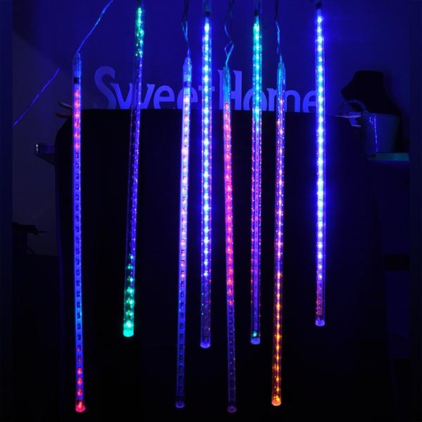 Picture of Meteor Shower Xmas Rain Lights 50cm 240 L 8 Tubes Christmas Tree Decor Us Plug Dl Color Multicolor