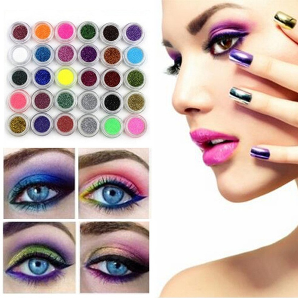 Picture of 30pcs Mixed Colors Powder Pigment Glitter Mineral Spangle Eyeshadow Makeup 30pcs Color Multicolor