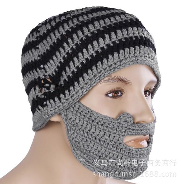 Wish Mens Handmade Knitted Beard Hat Mustache Bicycle Mask