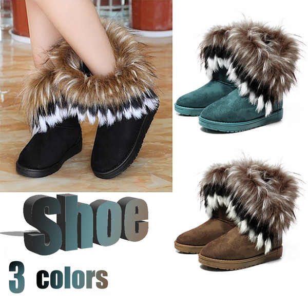 Picture of New Womens Faux Fur Boots Suede Mid Calf Fashion Winter Warm Sheepskin Shoes