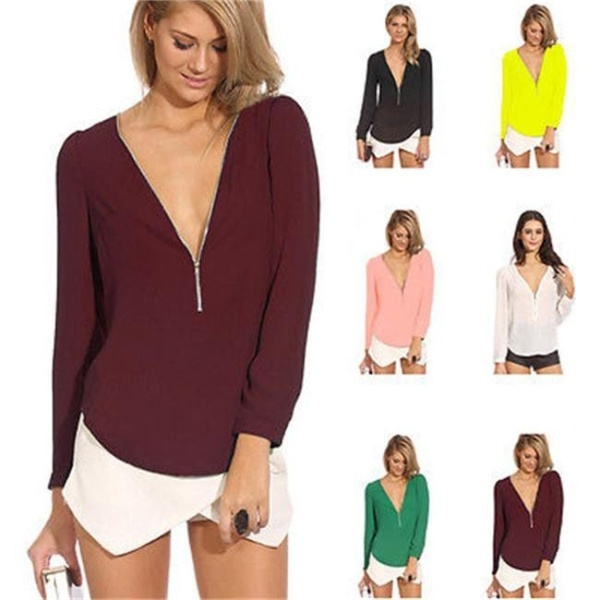 Picture of Fashion New Women Zipper V-neck Chiffon Tops Long Sleeve Shirt Casual Blouse