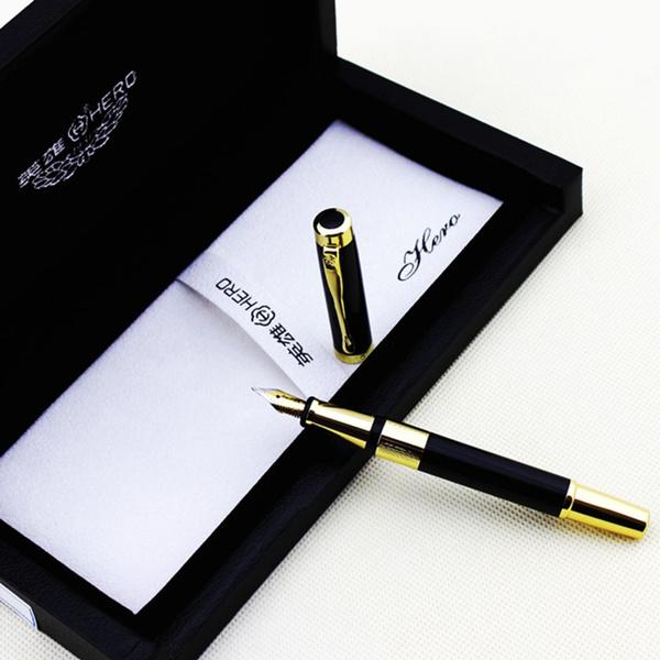 7ea1ba503b5b Wish | Luxury Hero 760 black and golden circle fountain pen with a nice  original gift box