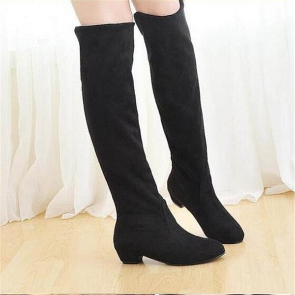 Picture of Fashion Boots Over The Knee Tigh High Suede Long Boots Winter Shoes Black Brown