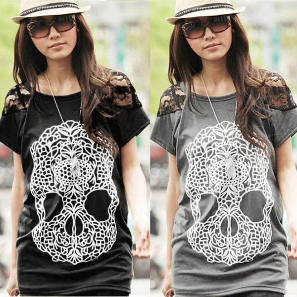 Picture of Casual Summer Women Girls Skull Print Short Sleeve Loose Cotton Lace T-shirt