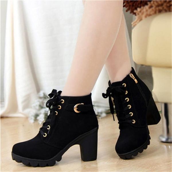 Wish | Women's Short Boot Thick Heels Wild Black Matte Female ...