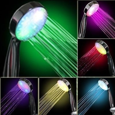 Picture of Showerhead 7 Color Change Led Romantic Light Water Bath Bathroom Shower Head Glow Color Multicolored Color Multicolored