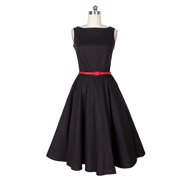 vestidos plus size women dress mid-calf vintage 50s style dresses party  dancewear black clothing