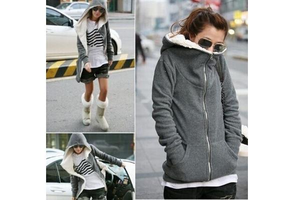 Fashion Women's Zip Up Tops Hoodie Coat Jacket Outerwear Sweatshirt
