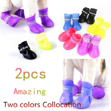 Fashion Pets Dog  Waterproof Boots Colorful Rubber Rain Shoes