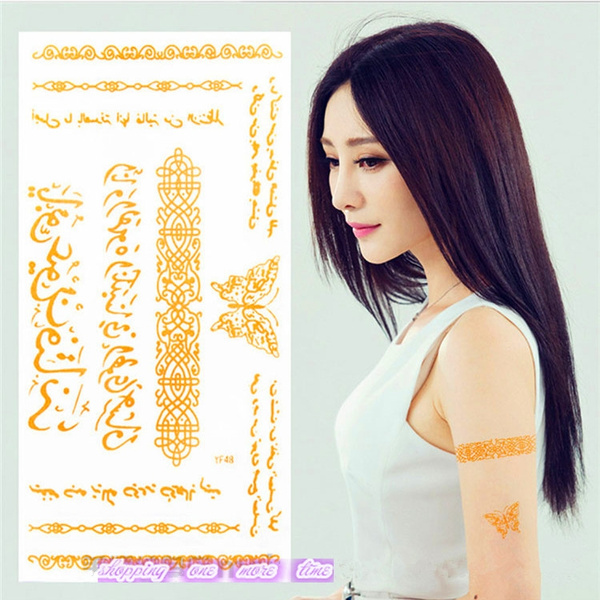 gold Arabic peom word temporary tattoos butterfly chain Waterproof tattoos  sticker tatto tattoing make up paint for arm leg