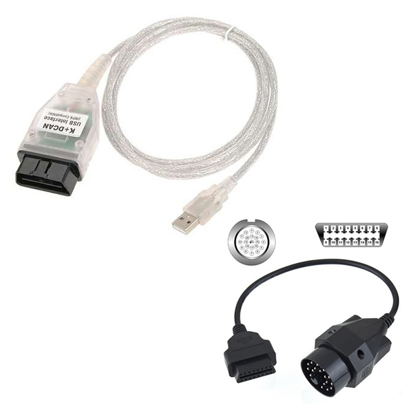 INPA Ediabas SSS NCS K+ D-CAN OBD2 USB Interface for BMW + 20 Pin OBD1  Adapter Cable
