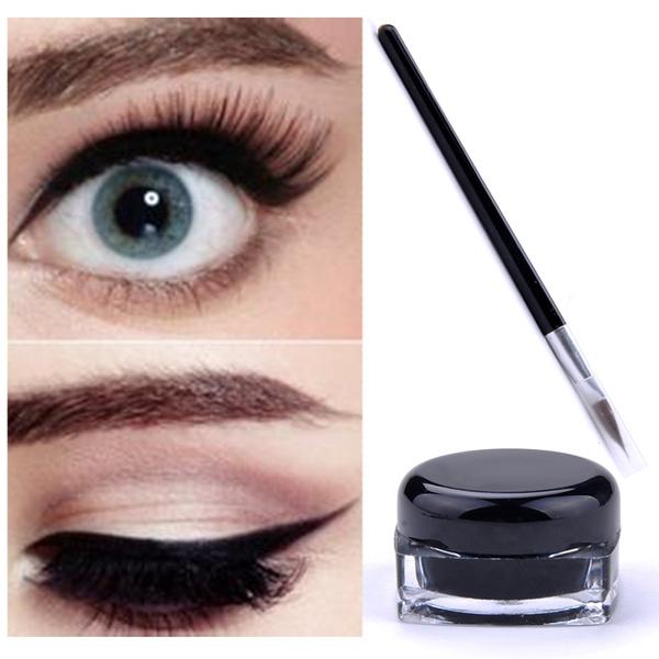Picture of Black Waterproof Eye Liner Gel Make Up Eyeliner Cream Cosmetic + Brush Makeup Set Color Black