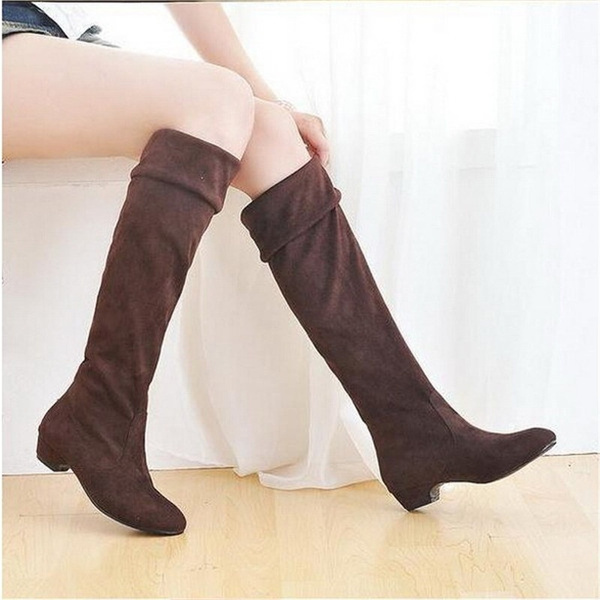 Picture of Women Fashion Spring Boots Over The Knee Long Boots Black Brown Suede Flat Shoes