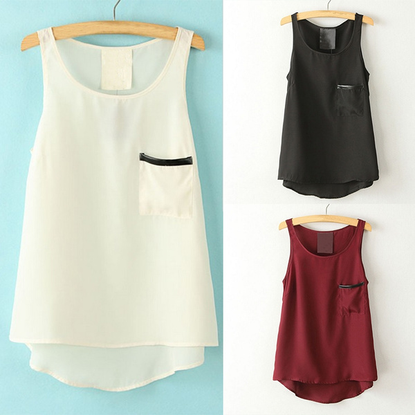 Picture of Women's Summer Casual Chiffon Vest Top Tank Sleeveless Shirt Pocket Blouse