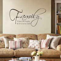 """""""Family Where Life Begins Love"""" DIY Art Wall Stickers Quote Decal Home Decor Mural"""