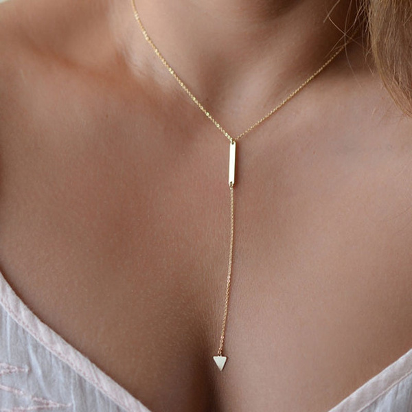 Picture of Geometric Gold Filled Women's Drop Long Necklace